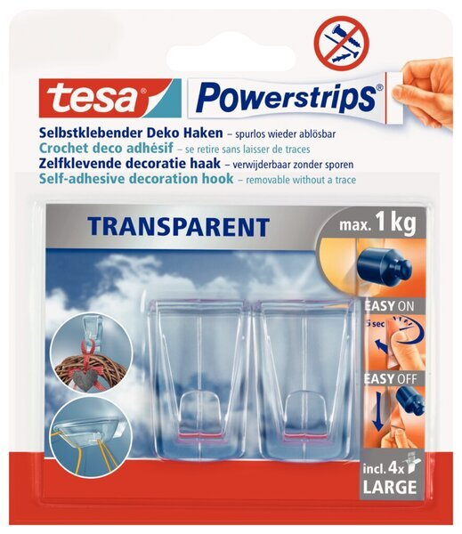 tesa Powerstrip Deco-Haken transparent, large, sicherer halt bis 1 kg.
