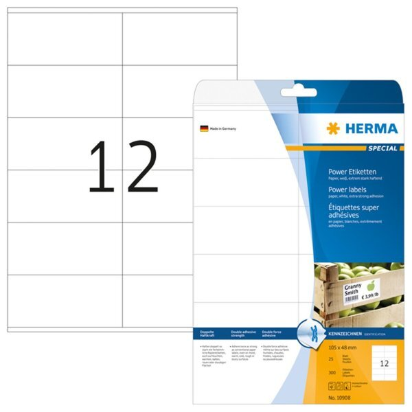 HERMA SuperPrint Power Etiketten ws extrem stark haftend 105x48mm